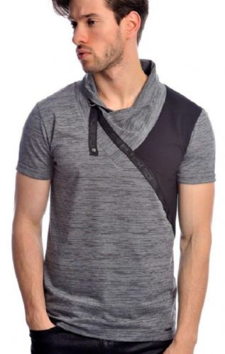 Fargo Designer Dark Grey Black Melange Cowl Neck Crew Fitted T Shirt Detailed